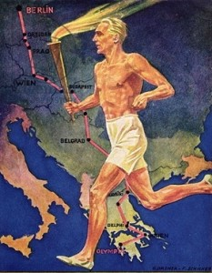 CHT192967 Torch Bearer at the Berlin Olympic Games, 1936 (colour litho);German School, (20th century);colour lithograph;441 X 600;Private Collection;(add. info.:transport de la flamme olympique;);Archives Charmet;Undetermined